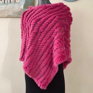 RABBIT FUR wool shawl soft push genuine popover